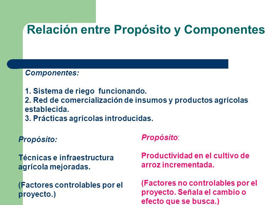 Relación entre Propósito y Componentes Propósito: Técnicas e infraestructura agrícola mejoradas. (Factores controlables por el proyecto.) Propósito: P