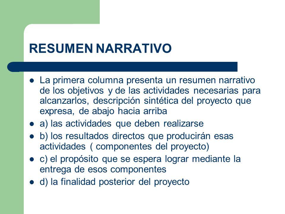 RESUMEN NARRATIVO La primera columna presenta un resumen narrativo de los objetivos y de las actividades necesarias para alcanzarlos, descripción sint