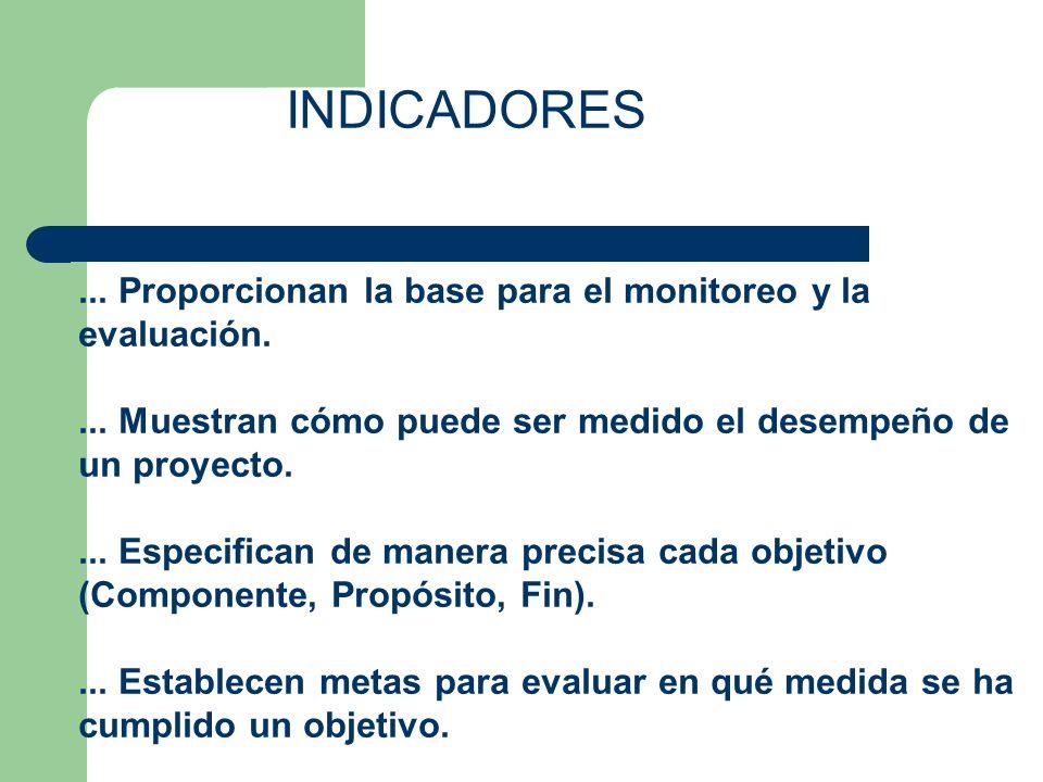 INDICADORES... Proporcionan la base para el monitoreo y la evaluación.... Muestran cómo puede ser medido el desempeño de un proyecto.... Especifican d