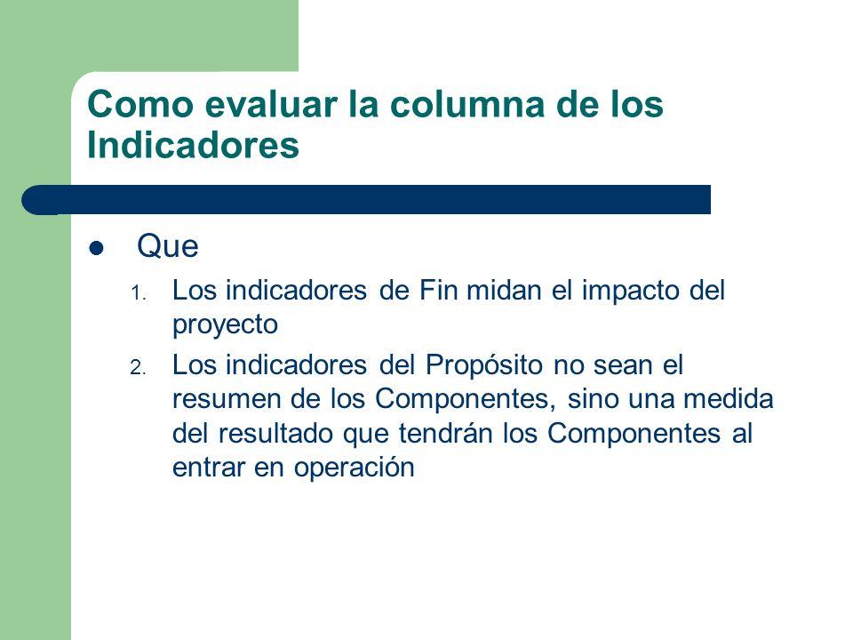 Como evaluar la columna de los Indicadores Que 1. Los indicadores de Fin midan el impacto del proyecto 2. Los indicadores del Propósito no sean el res