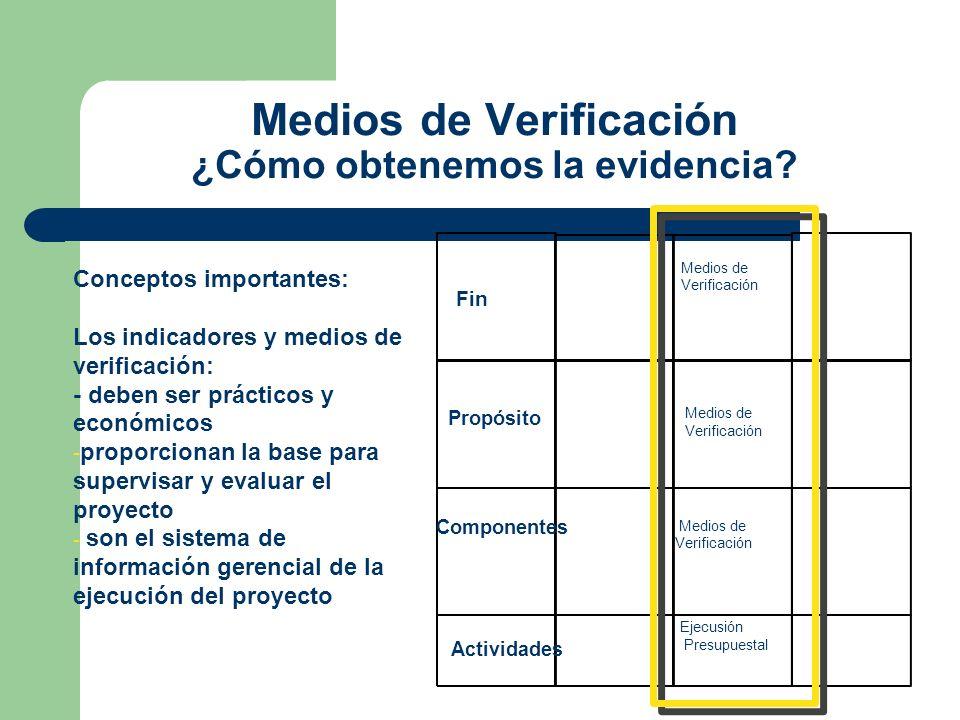 Medios de Verificación ¿Cómo obtenemos la evidencia? Fin Propósito Componentes Actividades Medios de Verificación Ejecusión Presupuestal Conceptos imp
