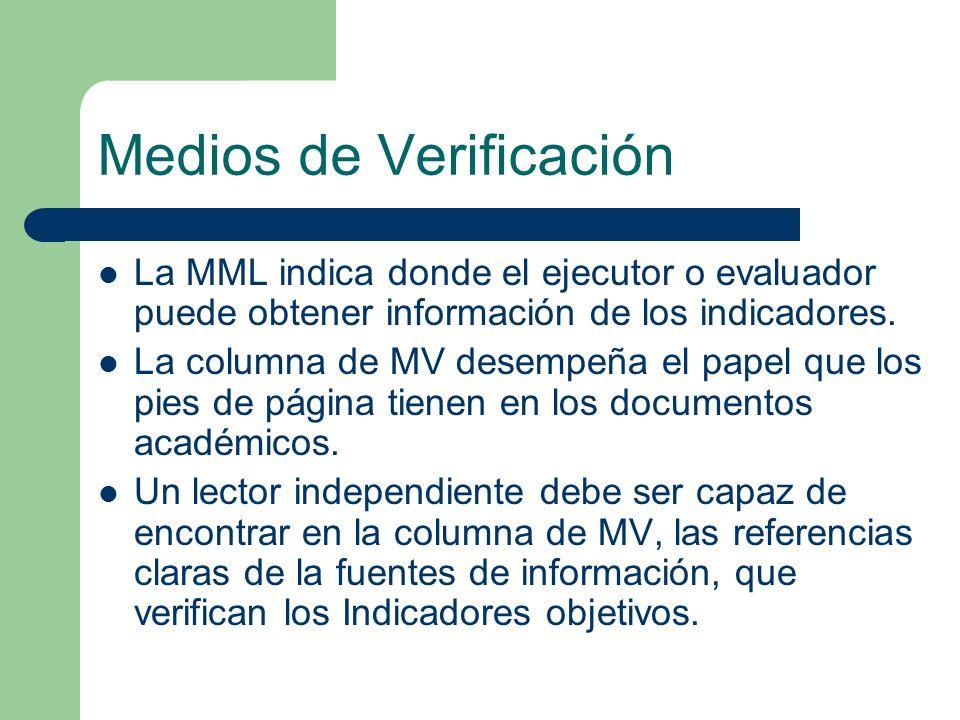 Medios de Verificación La MML indica donde el ejecutor o evaluador puede obtener información de los indicadores. La columna de MV desempeña el papel q