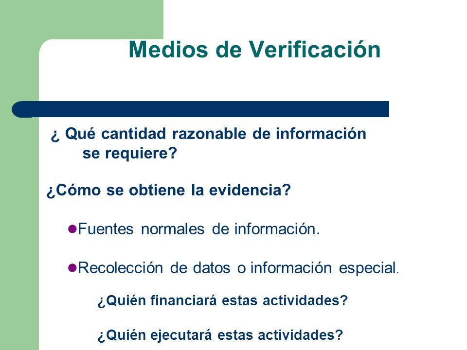 Medios de Verificación ¿ Qué cantidad razonable de información se requiere? ¿Cómo se obtiene la evidencia? Fuentes normales de información. Recolecció