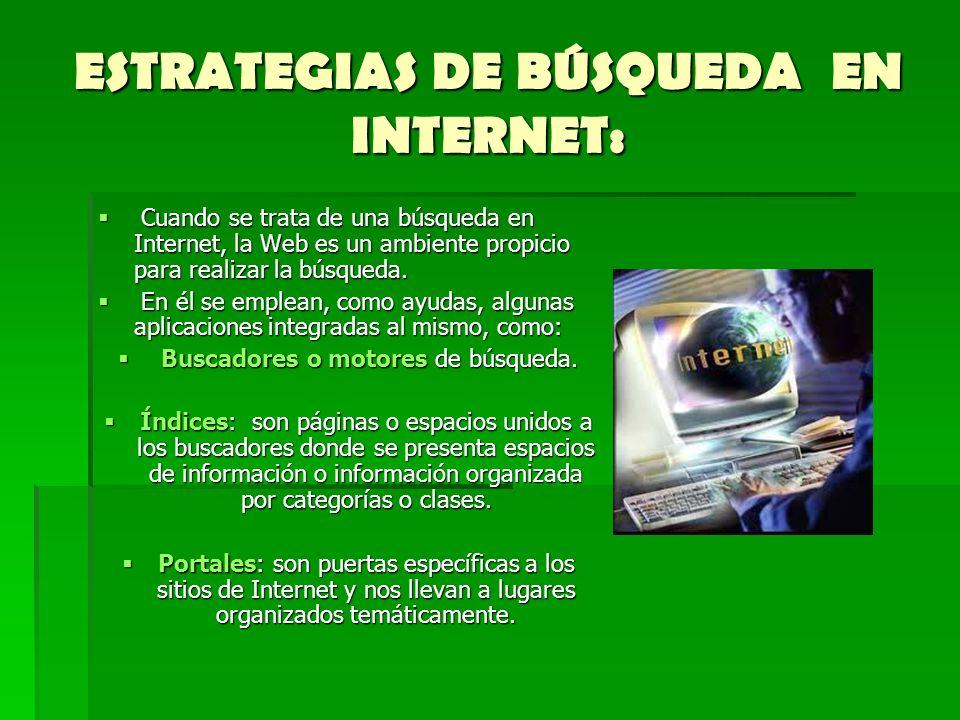 ESTRATEGIAS DE BÚSQUEDA EN INTERNET: Cuando se trata de una búsqueda en Internet, la Web es un ambiente propicio para realizar la búsqueda. Cuando se