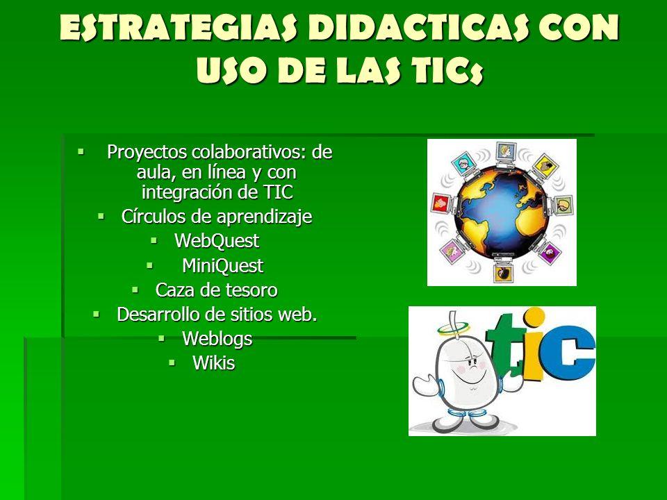 ESTRATEGIAS DIDACTICAS CON USO DE LAS TICs Proyectos colaborativos: de aula, en línea y con integración de TIC Proyectos colaborativos: de aula, en lí