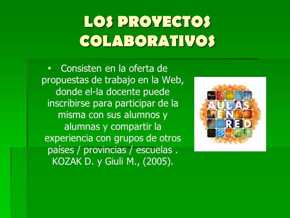 LOS PROYECTOS COLABORATIVOS Consisten en la oferta de propuestas de trabajo en la Web, donde el-la docente puede inscribirse para participar de la mis