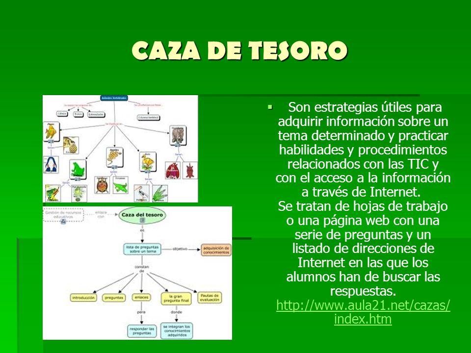 CAZA DE TESORO Son estrategias útiles para adquirir información sobre un tema determinado y practicar habilidades y procedimientos relacionados con la