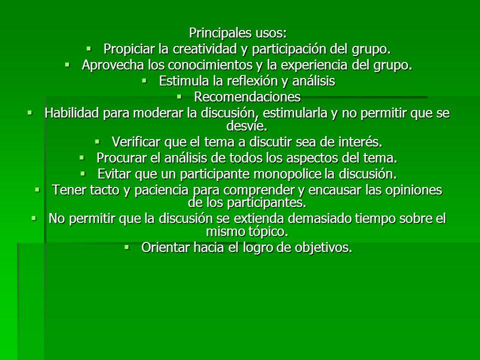DISCUSIÓN EN GRUPOS La discusión en grupo, consiste en la formación de grupos de 4 a 10 personas con el fin de intercambiar experiencias, ideas, opiniones y conocimientos con el objeto de resolver un problema o situación conflictiva, tomar decisiones, buscar datos o simplemente adquirir conocimientos aprovechando los aportes de los participantes http://www.salud.gob.mx/dirgrss /doctosFuente/tecnicas_didactica s.pdf http://www.salud.gob.mx/dirgrss /doctosFuente/tecnicas_didactica s.pdf Principales usos: Propiciar la creatividad y Propiciar la creatividad y participación del grupo.