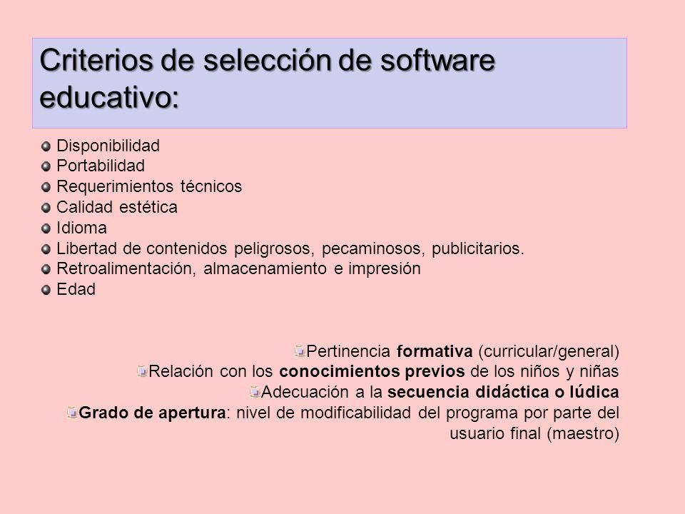 Criterios de selección de software educativo: Disponibilidad Portabilidad Requerimientos técnicos Calidad estética Idioma Libertad de contenidos pelig