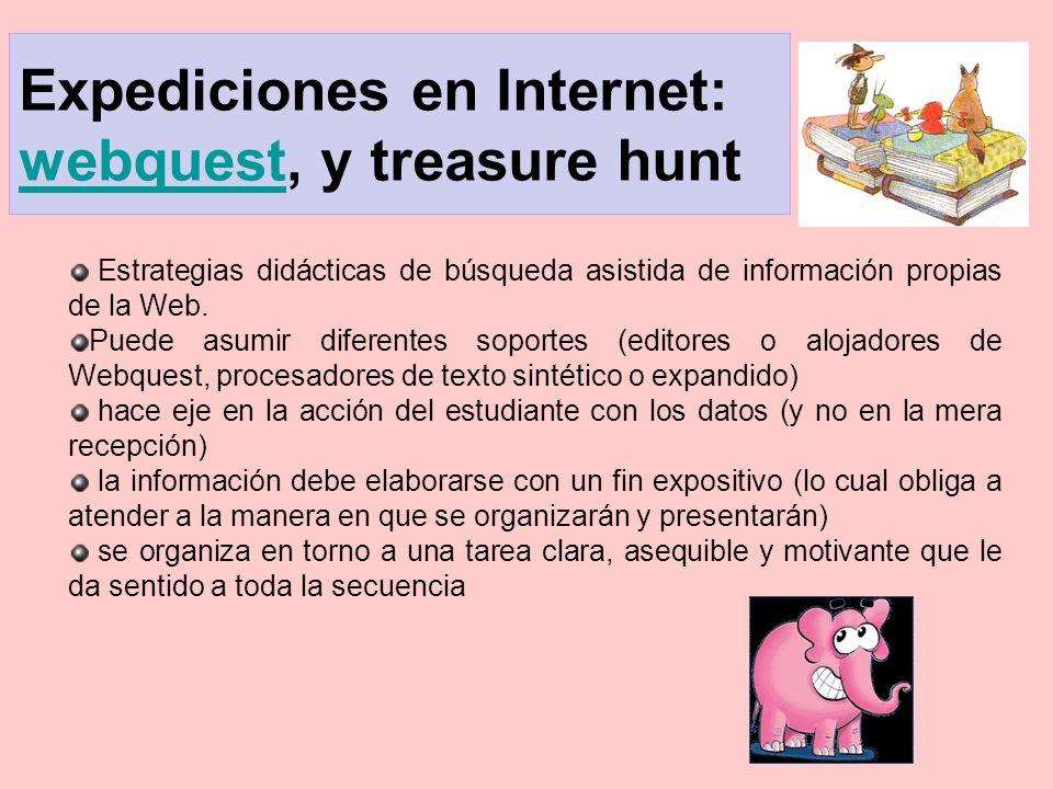 Expediciones en Internet: webquest, y treasure hunt webquest Estrategias didácticas de búsqueda asistida de información propias de la Web. Puede asumi