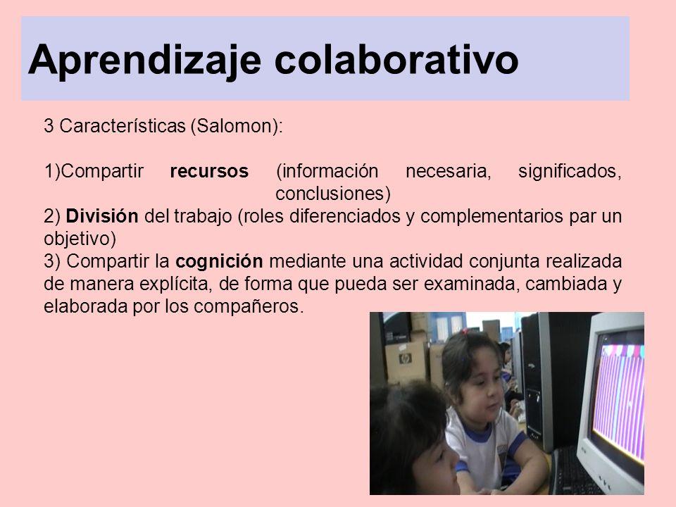 Aprendizaje colaborativo 3 Características (Salomon): 1)Compartir recursos (información necesaria, significados, conclusiones) 2) División del trabajo