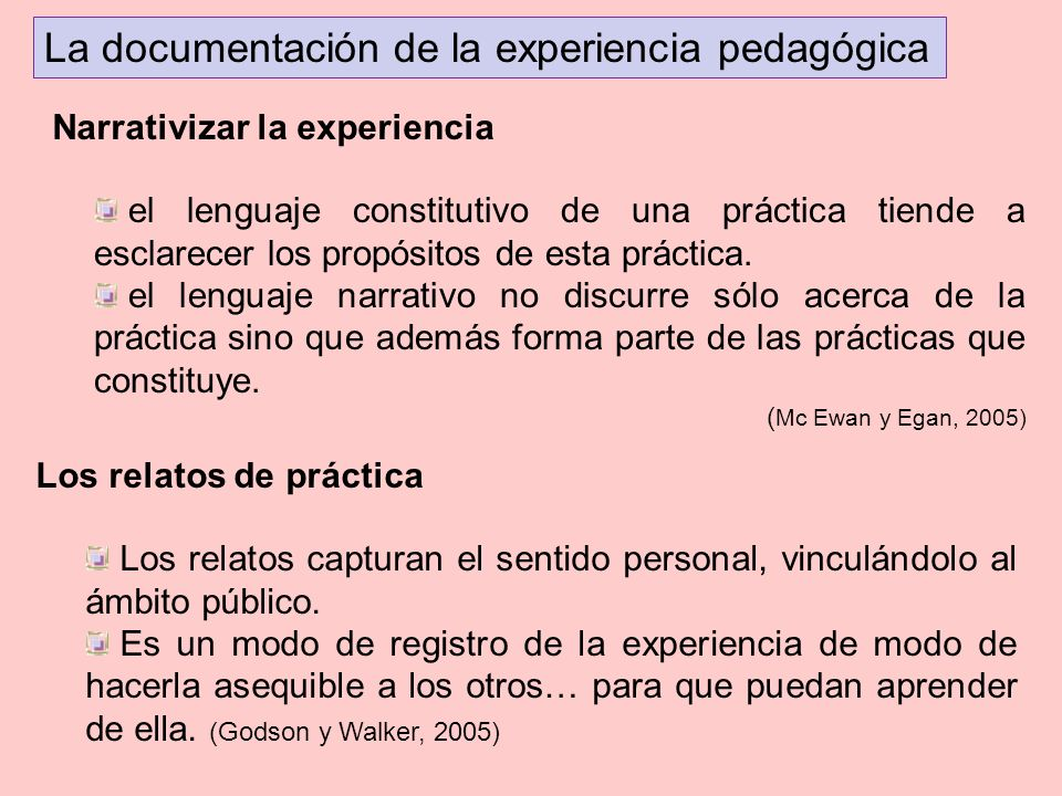 La documentación de la experiencia pedagógica el lenguaje constitutivo de una práctica tiende a esclarecer los propósitos de esta práctica. el lenguaj