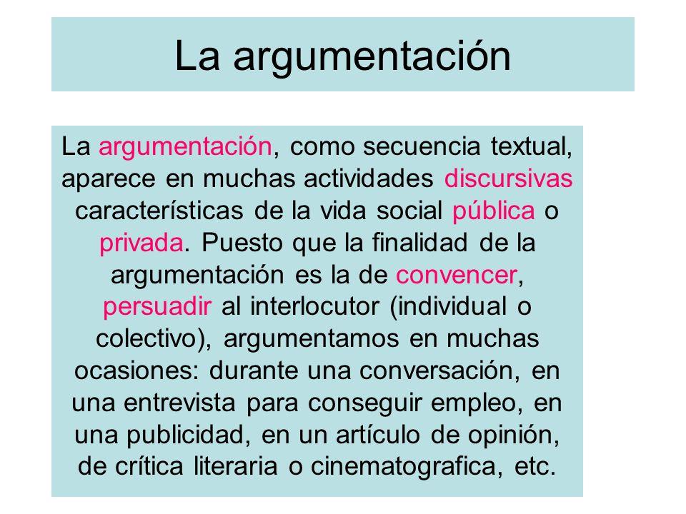 La argumentación La argumentación, como secuencia textual, aparece en muchas actividades discursivas características de la vida social pública o priva