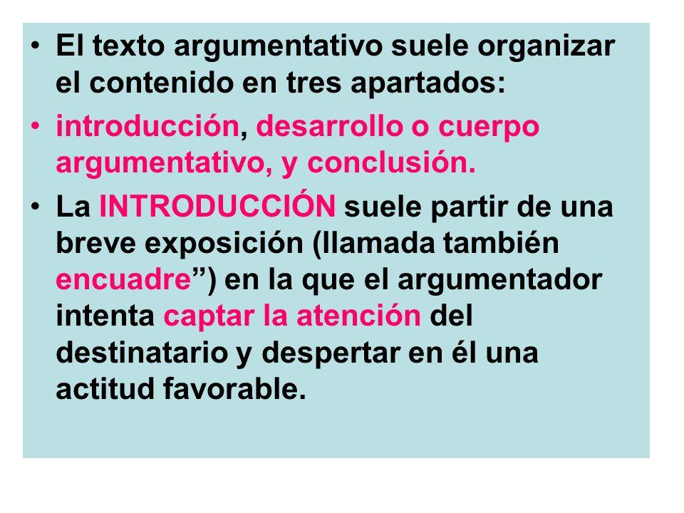 El texto argumentativo suele organizar el contenido en tres apartados: introducción, desarrollo o cuerpo argumentativo, y conclusión. La INTRODUCCIÓN