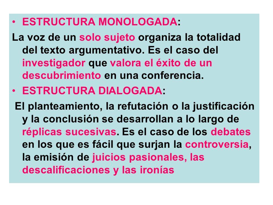 ESTRUCTURA MONOLOGADA: La voz de un solo sujeto organiza la totalidad del texto argumentativo. Es el caso del investigador que valora el éxito de un d