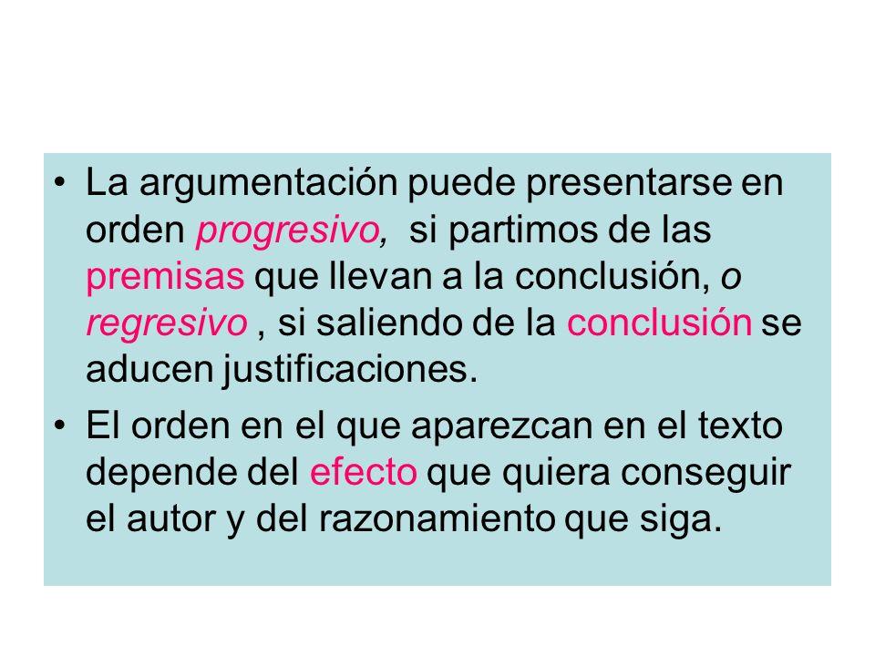 La argumentación puede presentarse en orden progresivo, si partimos de las premisas que llevan a la conclusión, o regresivo, si saliendo de la conclus