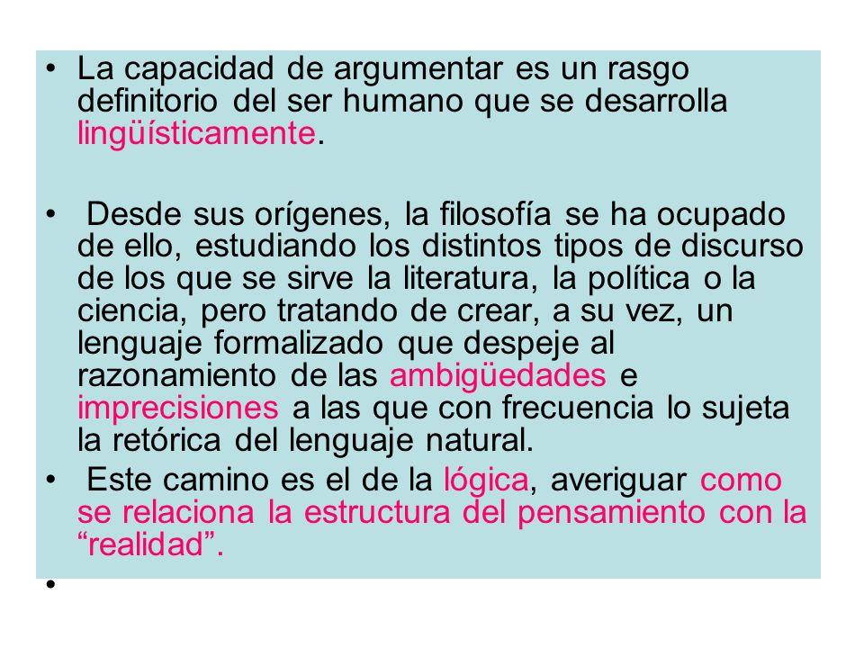 La capacidad de argumentar es un rasgo definitorio del ser humano que se desarrolla lingüísticamente. Desde sus orígenes, la filosofía se ha ocupado d