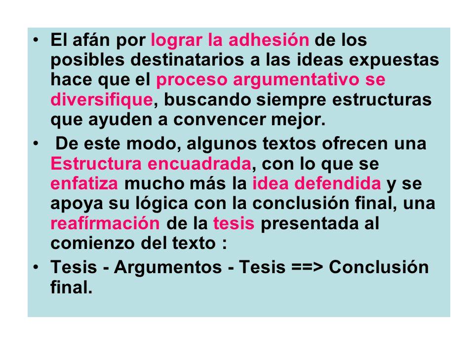 El afán por lograr la adhesión de los posibles destinatarios a las ideas expuestas hace que el proceso argumentativo se diversifique, buscando siempre