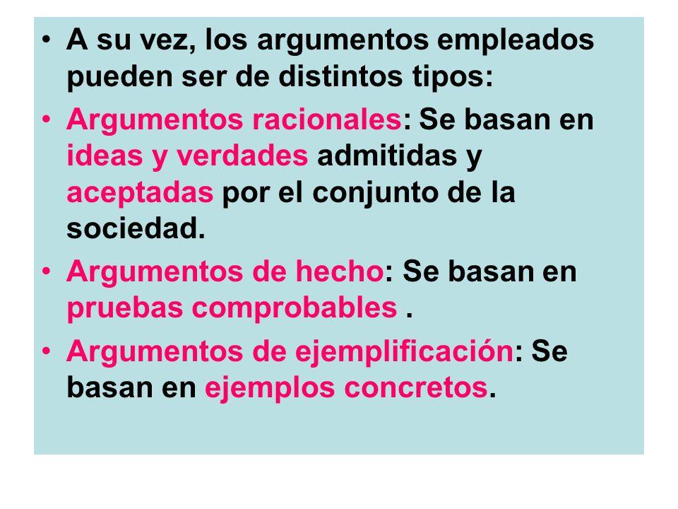 A su vez, los argumentos empleados pueden ser de distintos tipos: Argumentos racionales: Se basan en ideas y verdades admitidas y aceptadas por el con