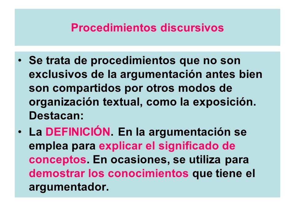 Procedimientos discursivos Se trata de procedimientos que no son exclusivos de la argumentación antes bien son compartidos por otros modos de organiza
