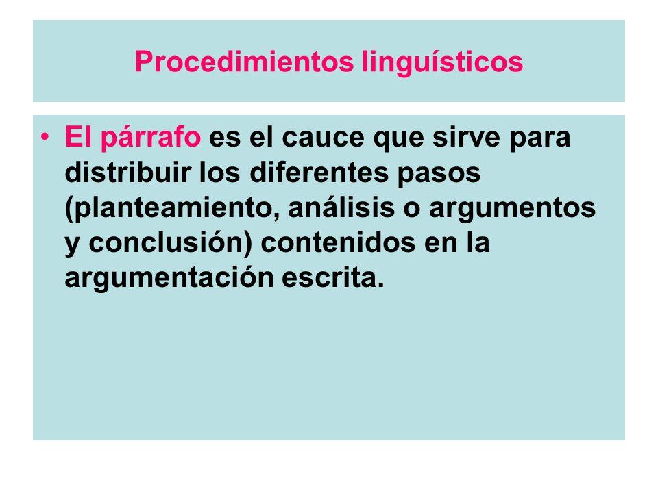 Procedimientos linguísticos El párrafo es el cauce que sirve para distribuir los diferentes pasos (planteamiento, análisis o argumentos y conclusión)