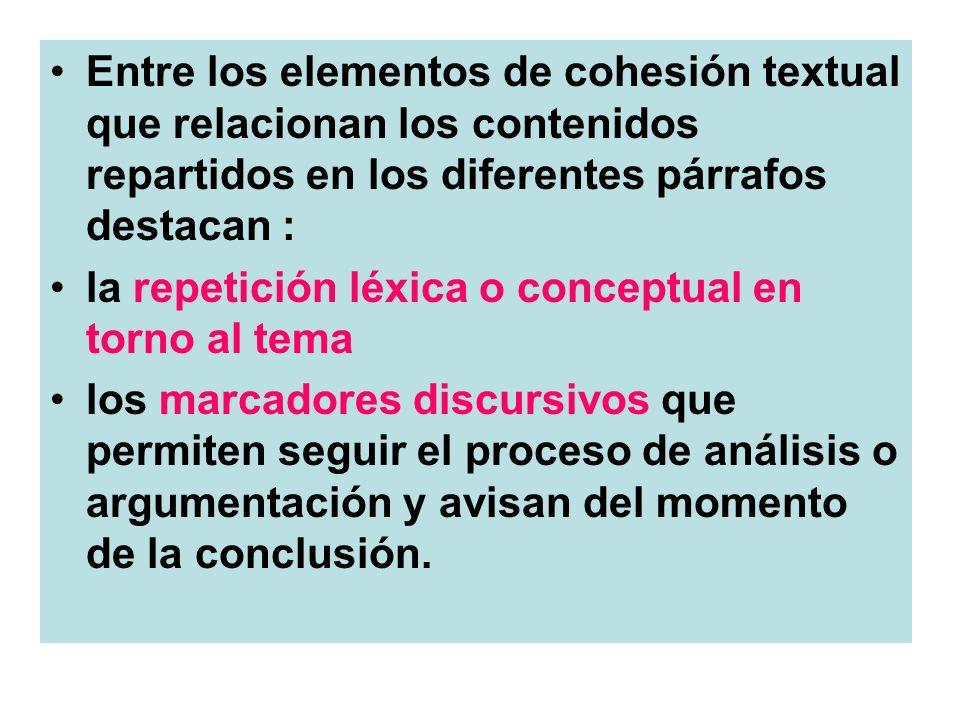 Entre los elementos de cohesión textual que relacionan los contenidos repartidos en los diferentes párrafos destacan : la repetición léxica o conceptu