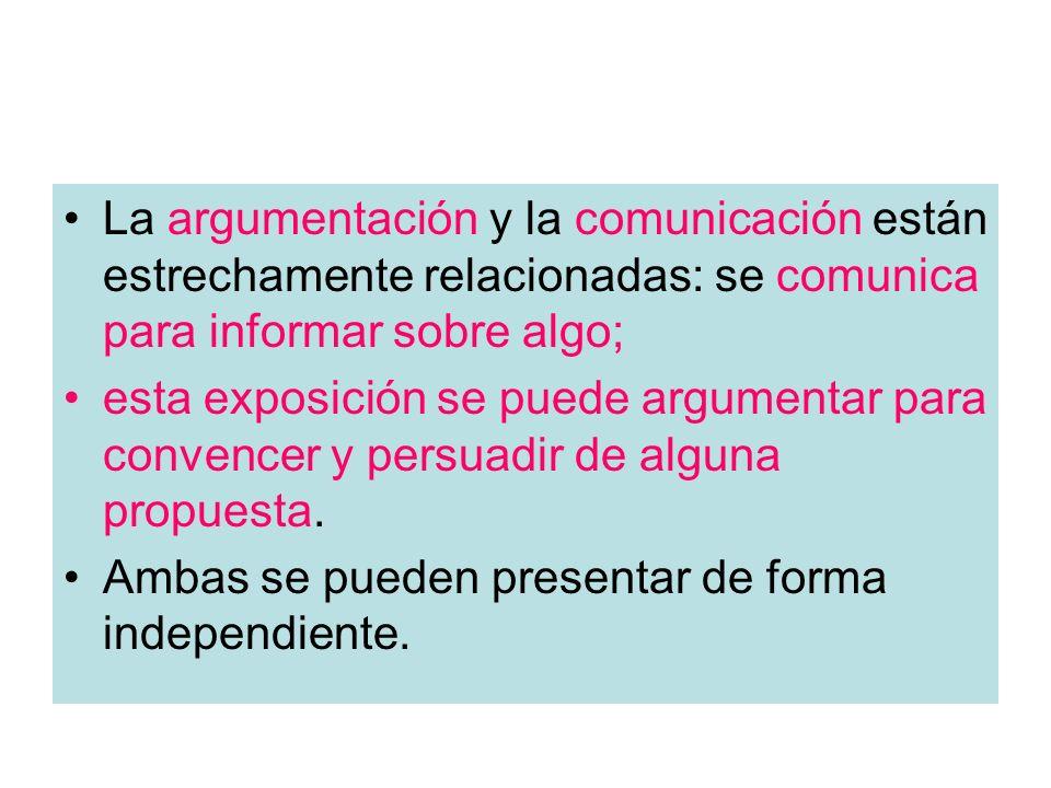 La argumentación y la comunicación están estrechamente relacionadas: se comunica para informar sobre algo; esta exposición se puede argumentar para co
