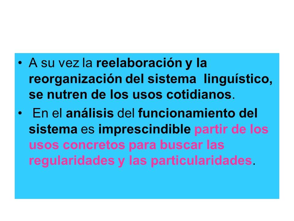 A su vez la reelaboración y la reorganización del sistema linguístico, se nutren de los usos cotidianos. En el análisis del funcionamiento del sistema