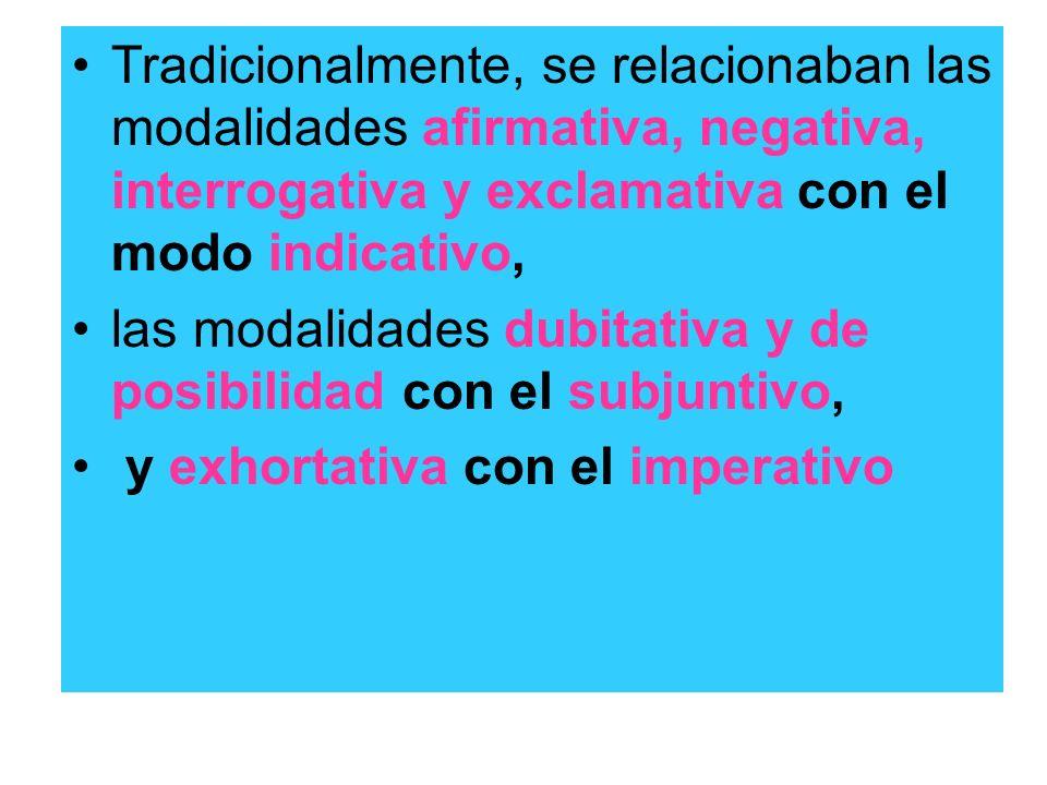 Tradicionalmente, se relacionaban las modalidades afirmativa, negativa, interrogativa y exclamativa con el modo indicativo, las modalidades dubitativa