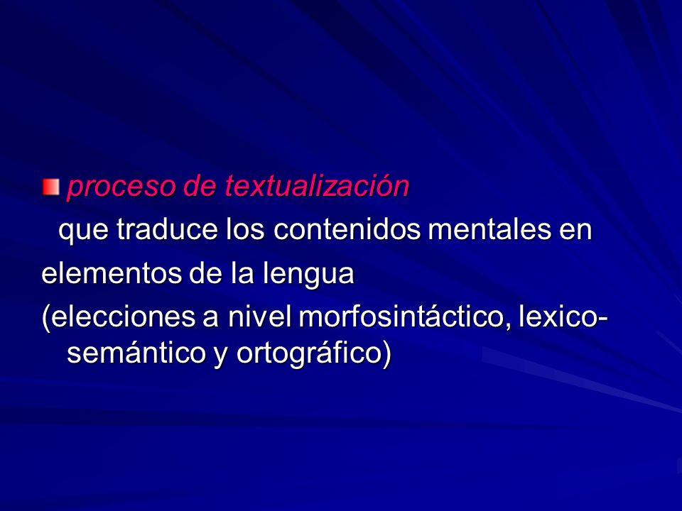 proceso de textualización que traduce los contenidos mentales en que traduce los contenidos mentales en elementos de la lengua (elecciones a nivel mor