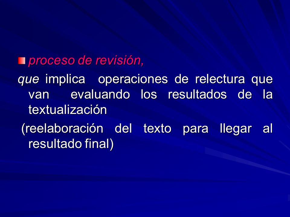 proceso de revisión, que implica operaciones de relectura que van evaluando los resultados de la textualización (reelaboración del texto para llegar a