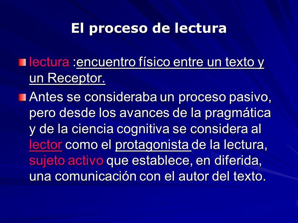 El proceso de lectura lectura :encuentro físico entre un texto y un Receptor. Antes se consideraba un proceso pasivo, pero desde los avances de la pra