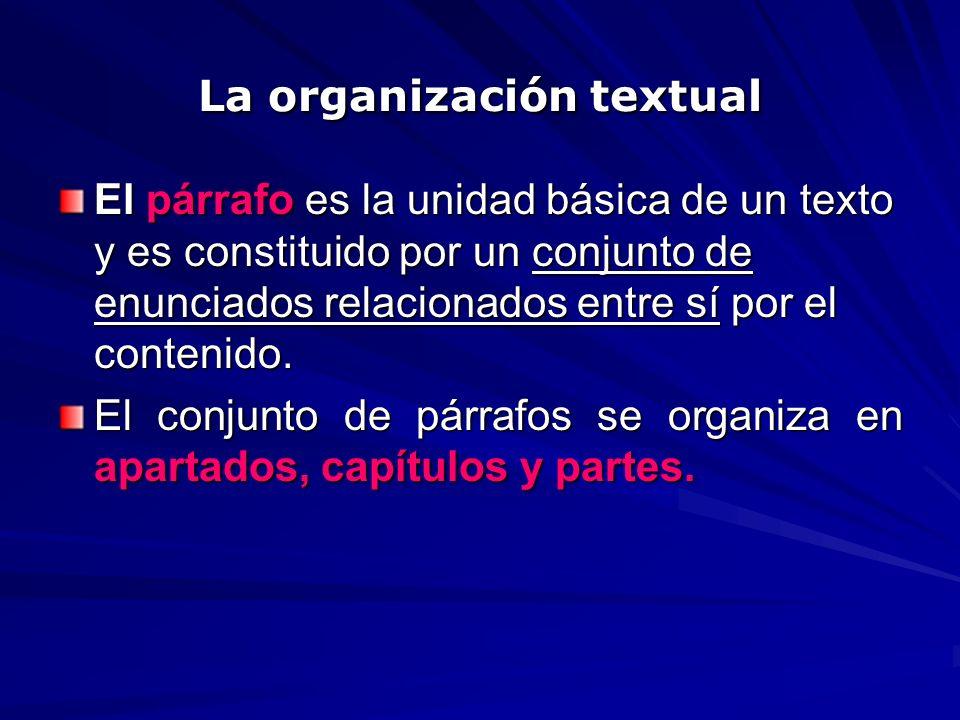 La organización textual El párrafo es la unidad básica de un texto y es constituido por un conjunto de enunciados relacionados entre sí por el conteni