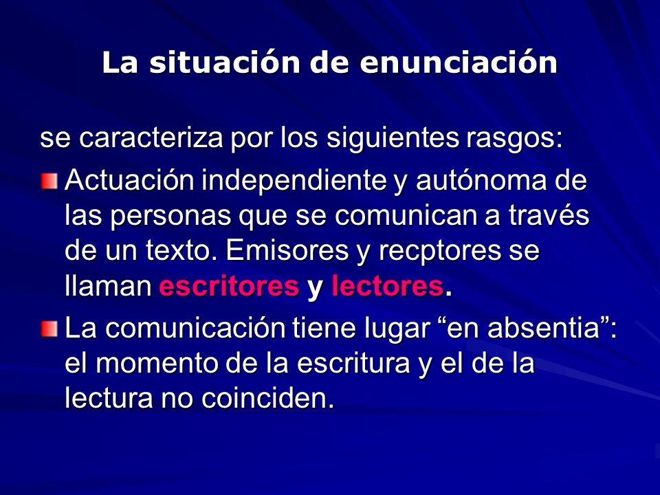 La situación de enunciación se caracteriza por los siguientes rasgos: Actuación independiente y autónoma de las personas que se comunican a través de