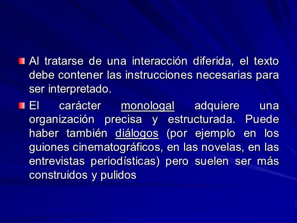 Al tratarse de una interacción diferida, el texto debe contener las instrucciones necesarias para ser interpretado. El carácter monologal adquiere una