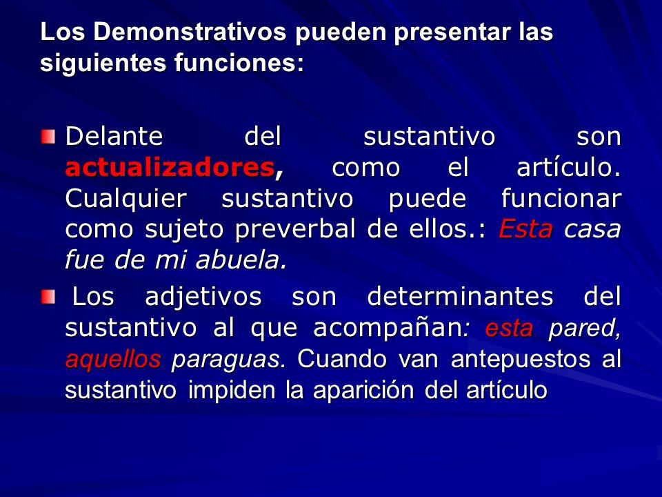 Los Demonstrativos pueden presentar las siguientes funciones: Delante del sustantivo son actualizadores, como el artículo. Cualquier sustantivo puede