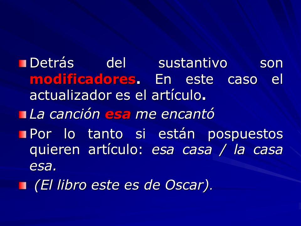 Los demostrativos, además de referirse a seres que están ante nosotros, puede aludir también a: Algo o alguien que acabamos de nombrar: Ya leí la última novela de Vargas Llosa; este escritor es magnífico.