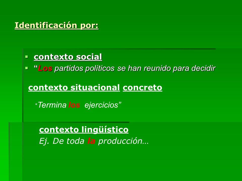 Identificación por: contexto social contexto social Los partidos políticos se han reunido para decidirLos partidos políticos se han reunido para decid
