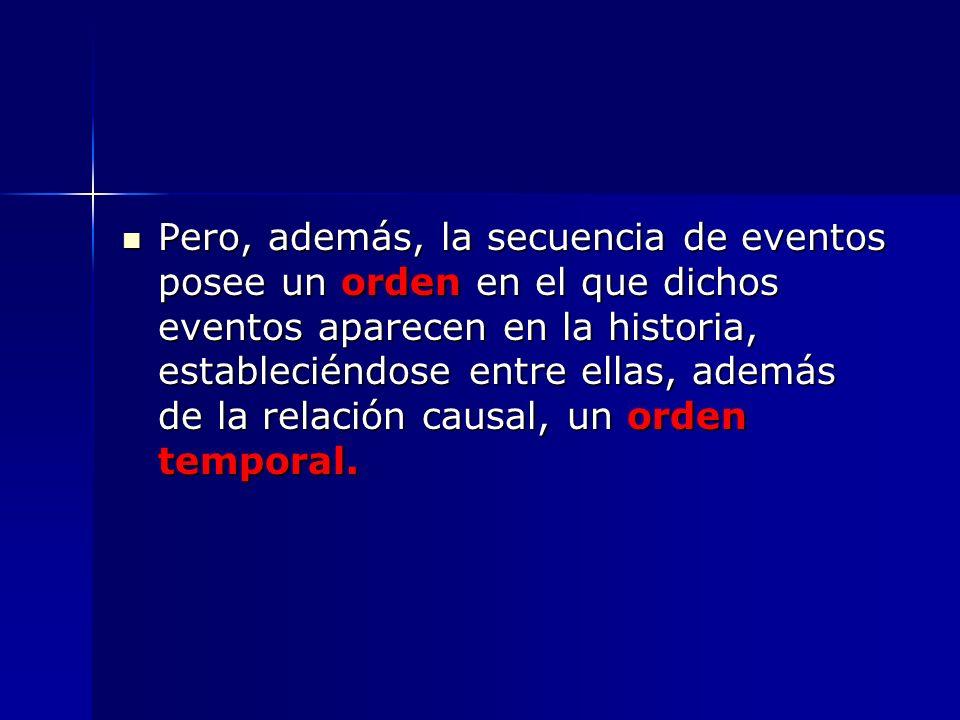 Pero, además, la secuencia de eventos posee un orden en el que dichos eventos aparecen en la historia, estableciéndose entre ellas, además de la relac
