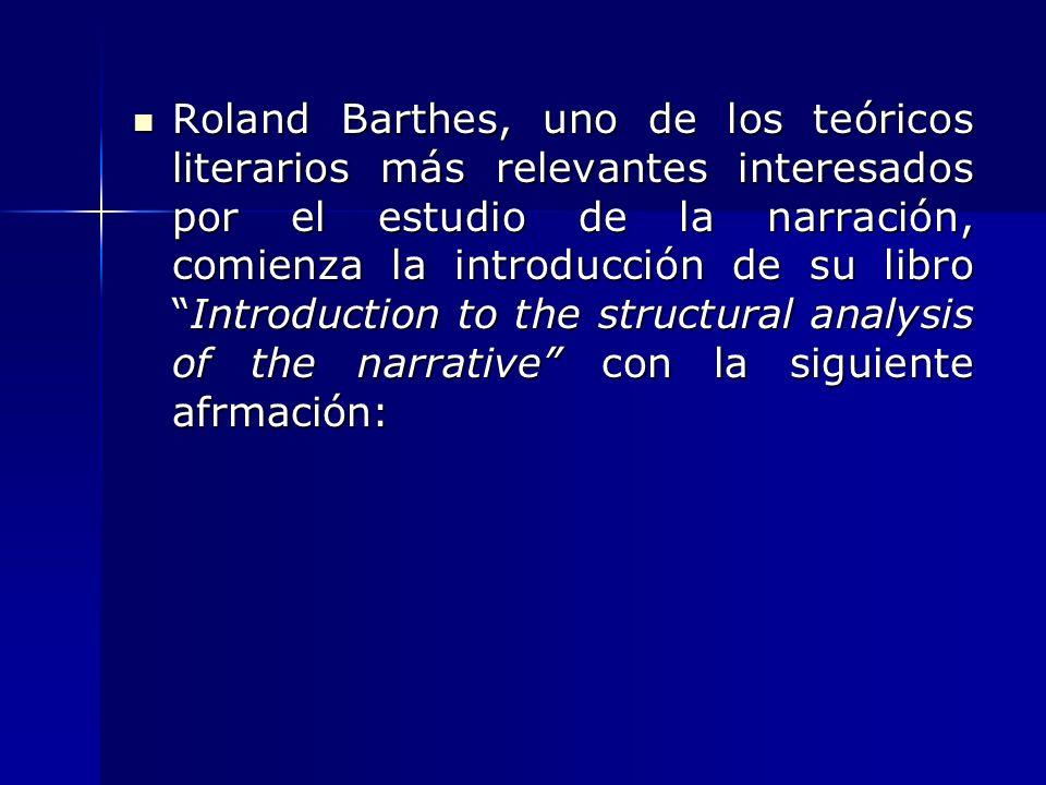 Roland Barthes, uno de los teóricos literarios más relevantes interesados por el estudio de la narración, comienza la introducción de su libroIntroduc