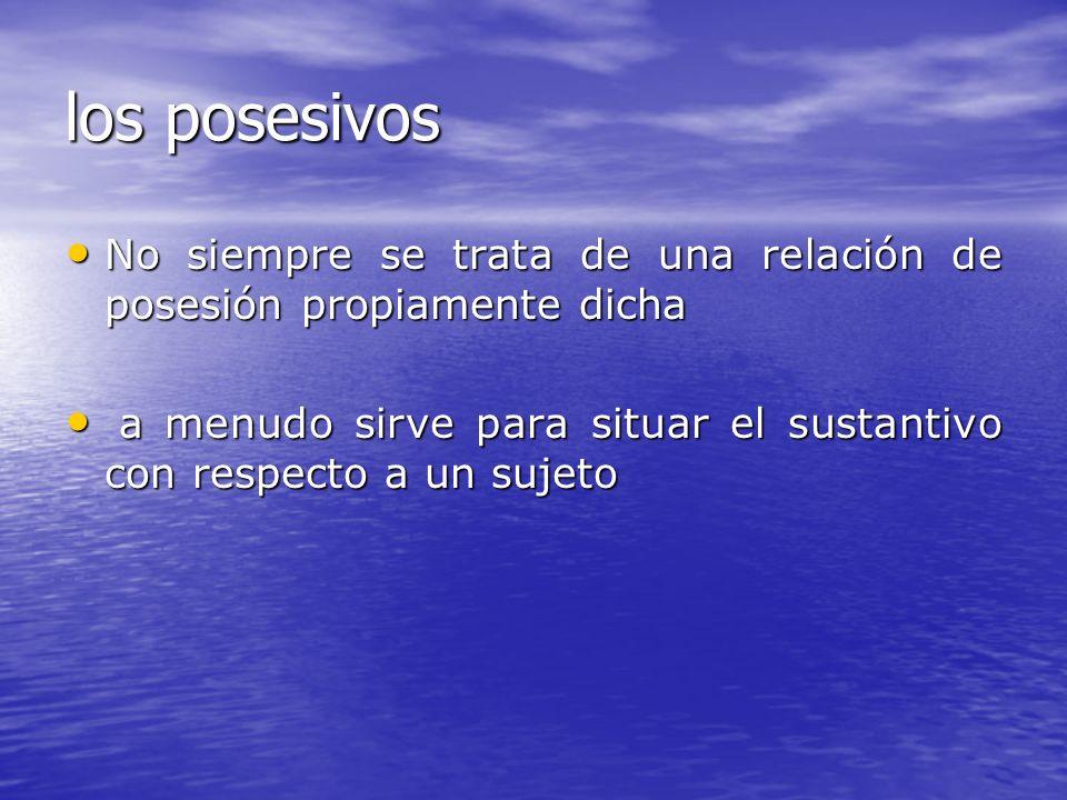 los posesivos No siempre se trata de una relación de posesión propiamente dicha No siempre se trata de una relación de posesión propiamente dicha a me