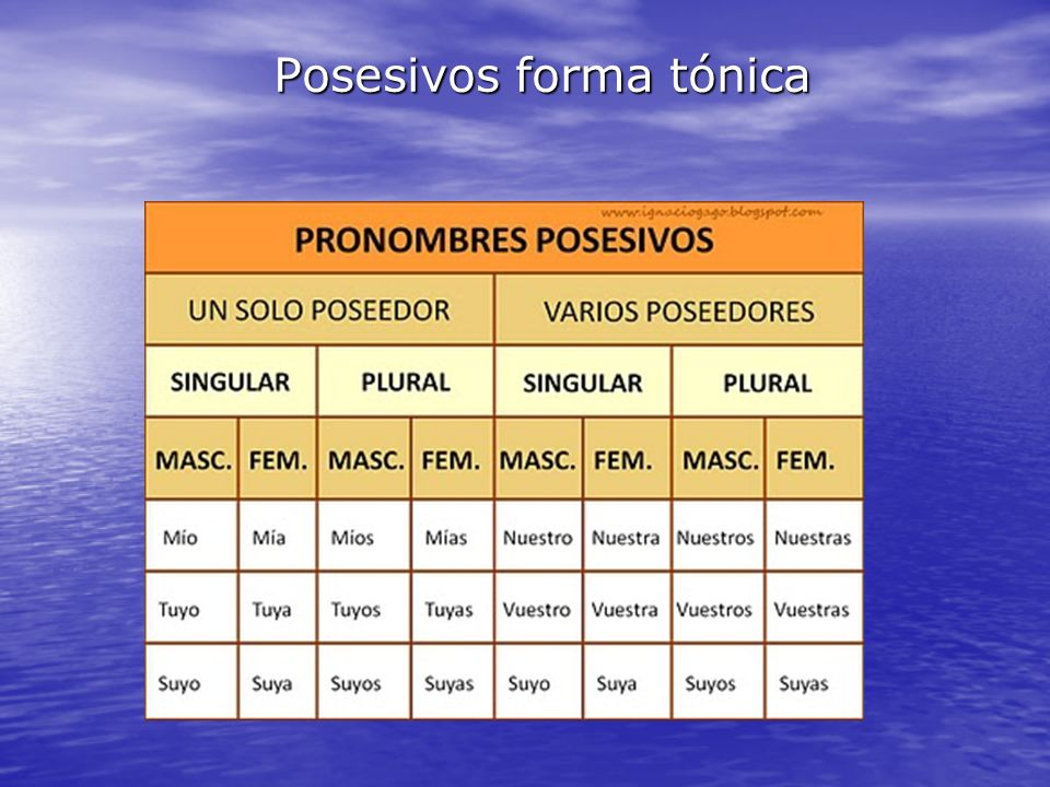 La forma tónica (mío, tuyo,suyo..) puede aparecer sola o al lado de un sustantivo al que sigue.