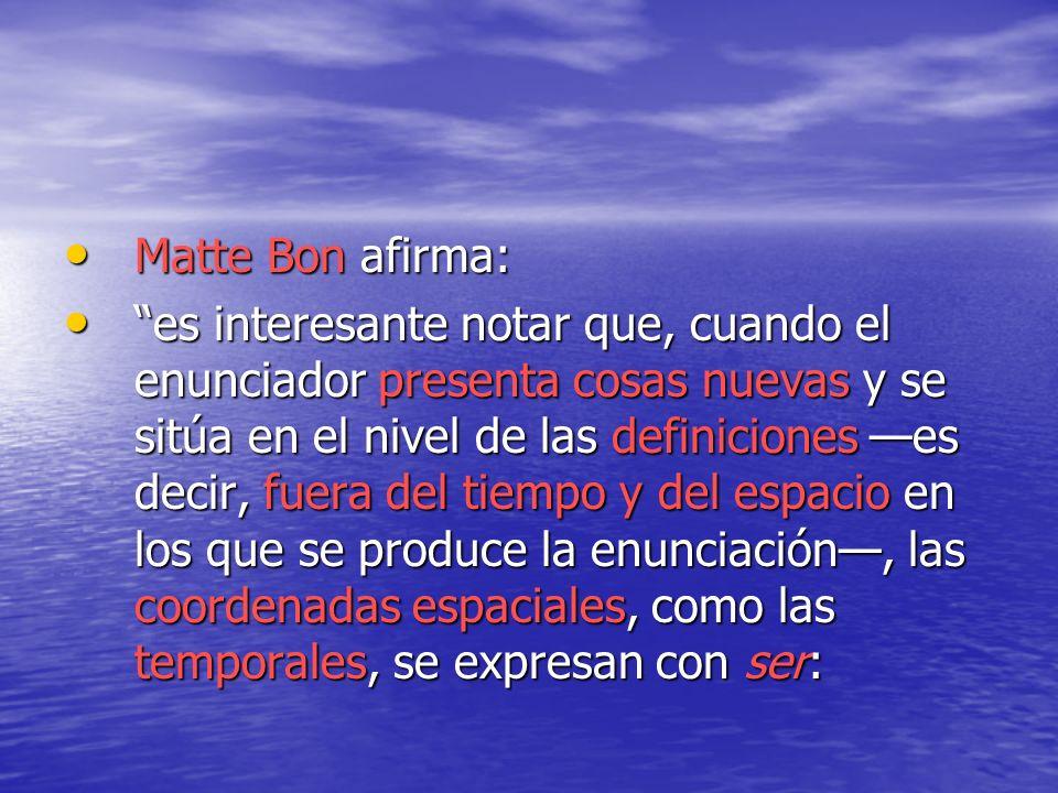 Matte Bon afirma: Matte Bon afirma: es interesante notar que, cuando el enunciador presenta cosas nuevas y se sitúa en el nivel de las definiciones es