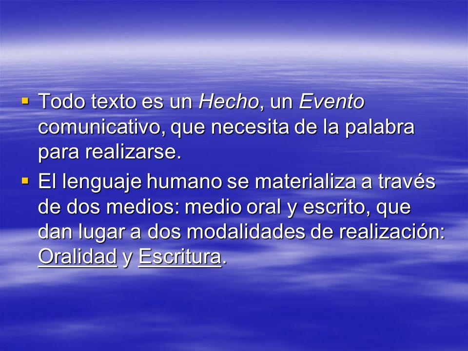 Modalidad Oral es natural y constitutiva de la persona como miembro de una especie.