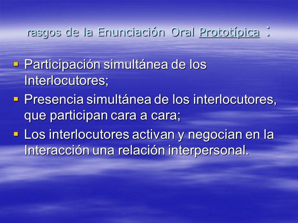 La Prosodia (entonación, intensidad, ritmo) es otro aspecto específico de la oralidad.