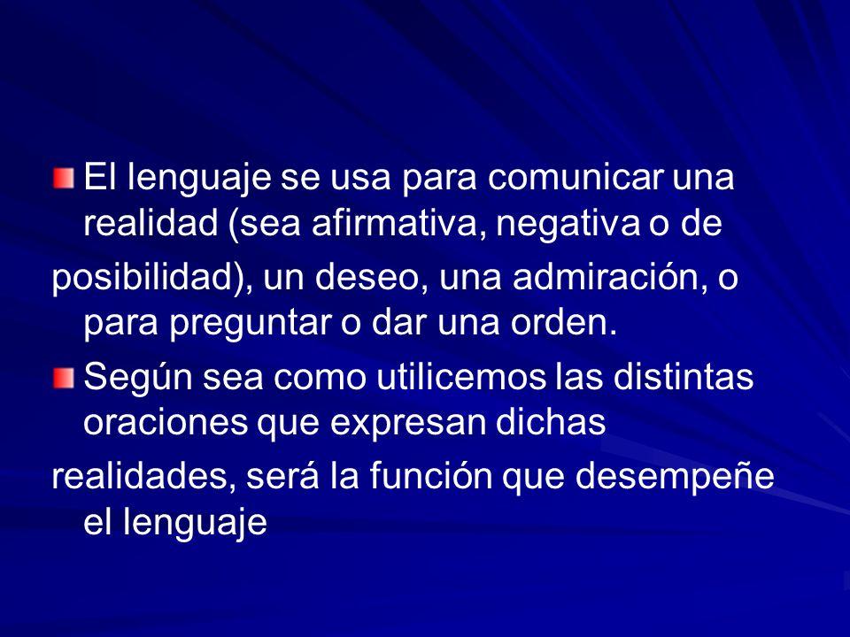 El lenguaje se usa para comunicar una realidad (sea afirmativa, negativa o de posibilidad), un deseo, una admiración, o para preguntar o dar una orden