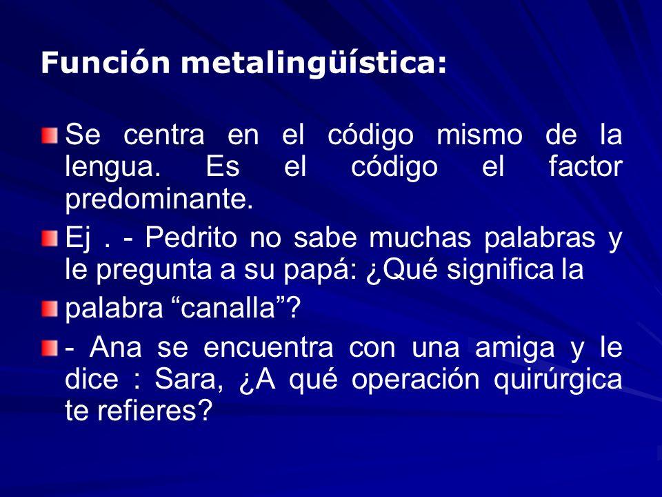Función metalingüística: Se centra en el código mismo de la lengua. Es el código el factor predominante. Ej. - Pedrito no sabe muchas palabras y le pr