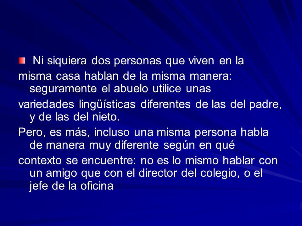 La procedencia geográfica del hablante, su origen social y la situación comunicativa dan lugar a la aparición de tres tipos de variedades lingüísticas.