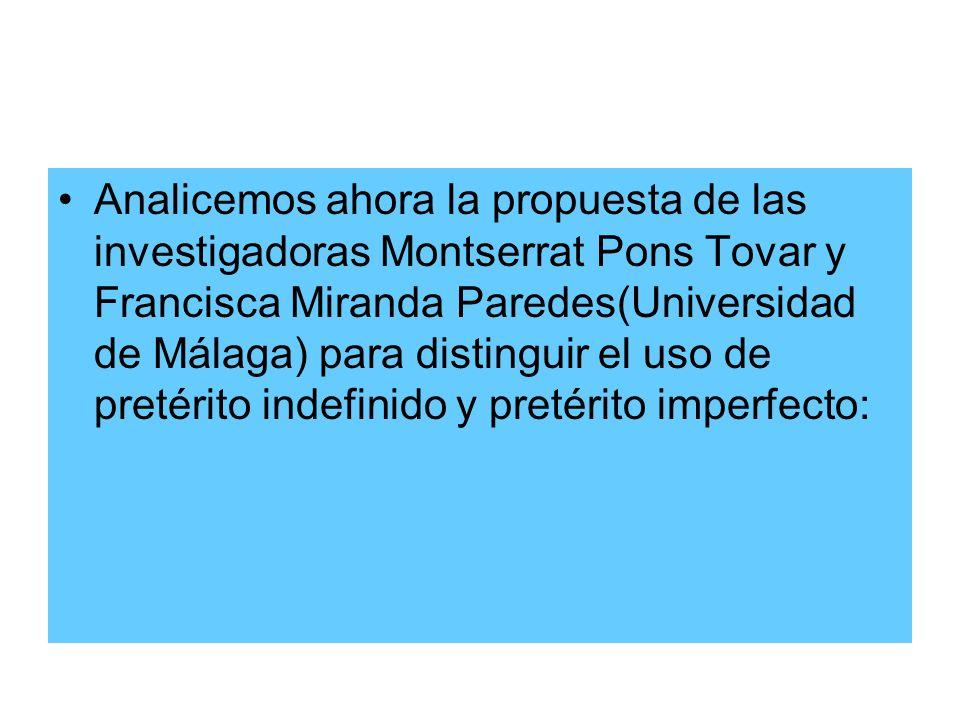 Analicemos ahora la propuesta de las investigadoras Montserrat Pons Tovar y Francisca Miranda Paredes(Universidad de Málaga) para distinguir el uso de