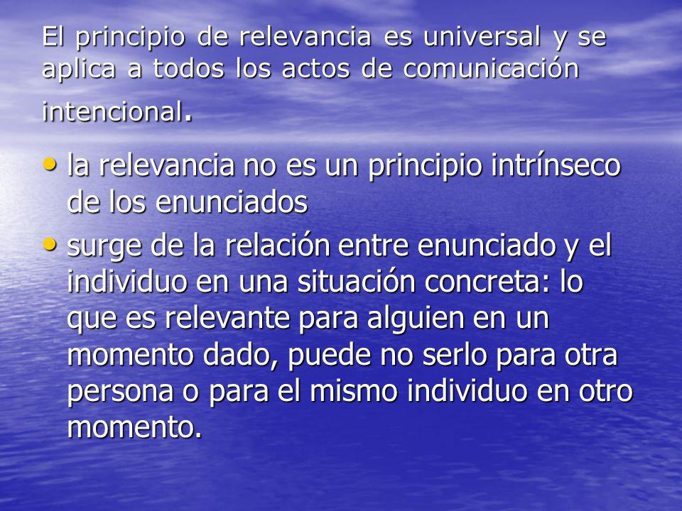 El principio de relevancia es universal y se aplica a todos los actos de comunicación intencional. la relevancia no es un principio intrínseco de los